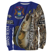 Load image into Gallery viewer, Walleye fishing Michigan Flag Customized name 3D All Over print shirts personalized fishing apparel for Adult and kid NQS515