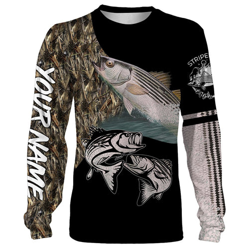 Striped Bass (Striper) Fishing Customize Name Fishing Camo All Over Printed Shirts Personalized Fishing Gift For Adult And Kid NQS381