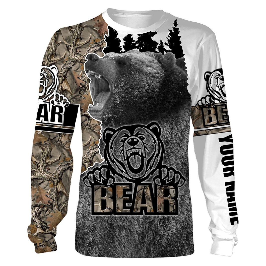 Bear Hunting camo hunting clothes Customize Name 3D All Over Printed Shirts Personalized Hunting gift For men, women And Kid NQS904