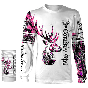 The country girl deer hunting pink muddy camouflage Customize Name 3D All Over Printed Shirts plus size Personalized Hunting gift For men, women and kid NQS1052