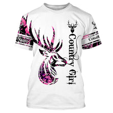 Load image into Gallery viewer, The country girl deer hunting pink muddy camouflage Customize Name 3D All Over Printed Shirts plus size Personalized Hunting gift For men, women and kid NQS1052