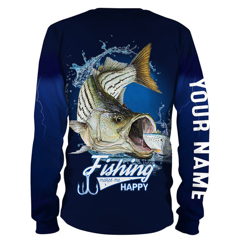 Fishing Makes Me Happy Striped Bass (Print On Back) Fishing 3D All Over printed Customized Name Shirts NQS326