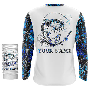 Catfish fishing blue muddy camo UV protection quick dry Customize name long sleeves UPF 30+ personalized gift for fisherman- NQS914