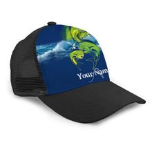 Load image into Gallery viewer, Mahi Mahi Fishing Custom Adjustable Mesh Unisex Fishing Baseball Trucker Angler hat cap - personalized Fishing gift for Fishing team - NQS524