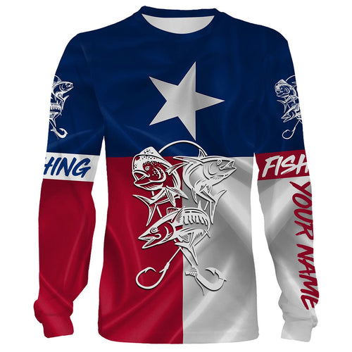 Mahi Mahi, Tuna, Wahoo Saltwater fishing Texas Flag 3D All Over print shirts saltwater personalized fishing apparel for Adult and kid NQS413