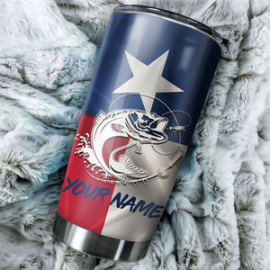 1PC Texas Bass fishing Customize name Stainless Steel Tumbler Cup Personalized Fishing gift fishing team - NQS775