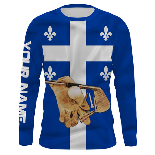 Golf Club Quebec Flag UV protection quick dry customize name long sleeves, Long sleeve hooded UPF 30+ personalized gift for Golf lovers - NQS670