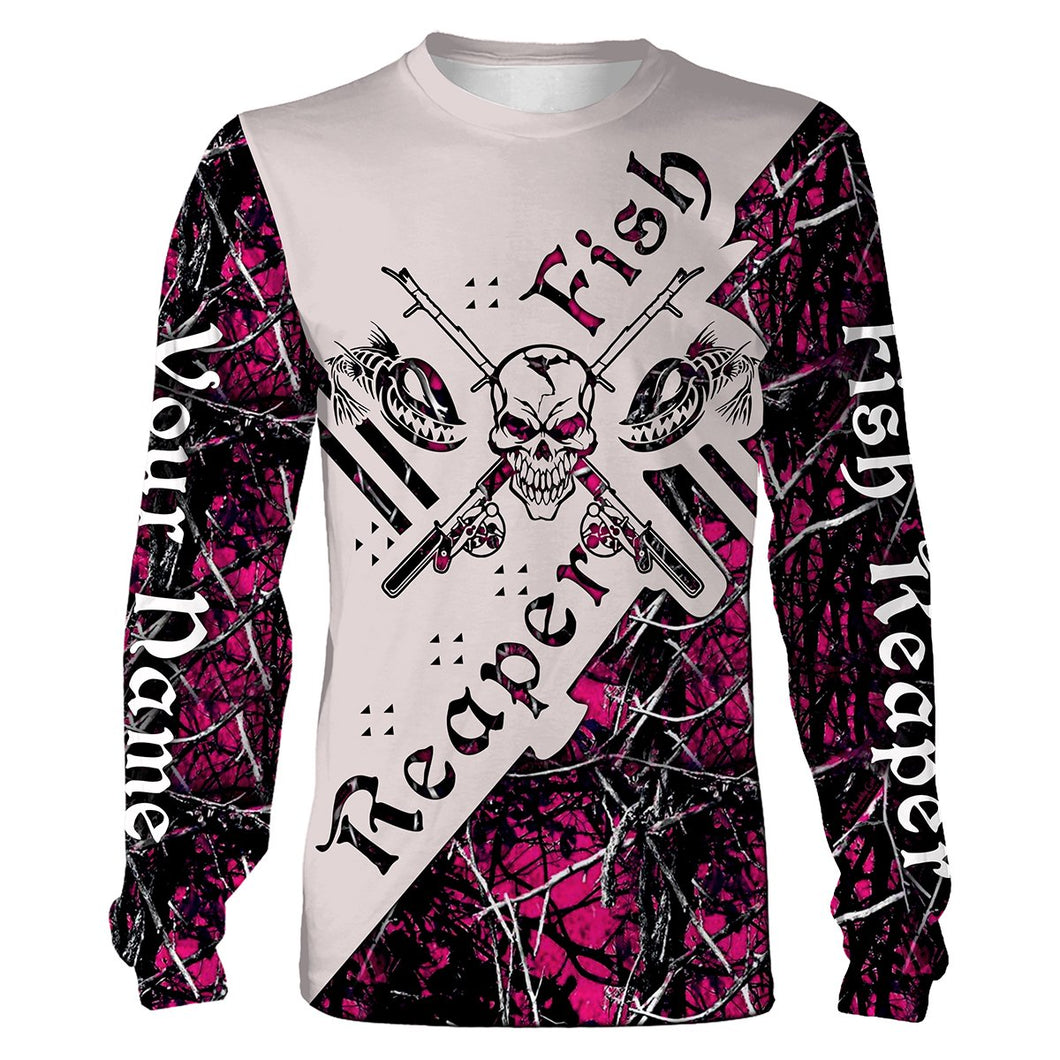 Fish Reaper Pink Muddy Camo Fishing Shirts 3D All Over print shirts personalized fishing apparel for Adult and kid NQS538