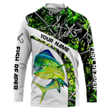 Load image into Gallery viewer, Mahi mahi ( Dorado) fishing Green muddy Camo UV protection quick dry Customize name long sleeves UPF 30+ personalized gift for fisherman- NQS803