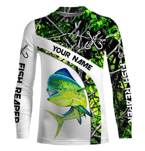 Mahi mahi ( Dorado) fishing Green muddy Camo UV protection quick dry Customize name long sleeves UPF 30+ personalized gift for fisherman- NQS803