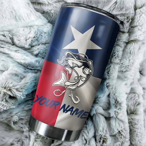 1PC Texas Catfish fishing Customize name Stainless Steel Tumbler Cup Personalized Fishing gift fishing team - NQS810