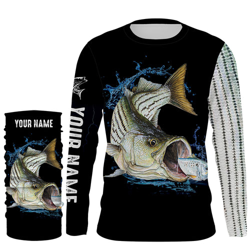 Striped Bass fishing scale UV protection quick dry Customize name long sleeves UPF 30+ personalized gift for fisherman- NQS833