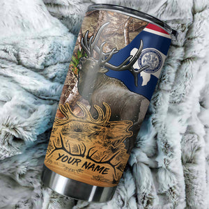 1PC Elk Wyoming elk hunting camo Customize name Stainless Steel Tumbler Cup - Personalized Fishing gift for Fishing lovers - NQS985
