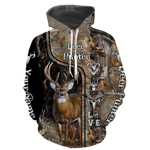 Deer Hunter big game hunting camo love hunting Custom Name 3D All over print shirts - personalized hunting gifts - NQS730
