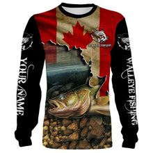 Load image into Gallery viewer, Walleye Fishing Canadian Flag Custom name All over print shirts - personalized fishing gift for men, women and kid - NQS505
