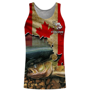 Walleye Fishing Canadian Flag Custom name All over print shirts - personalized fishing gift for men, women and kid - NQS505