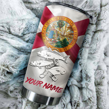 Load image into Gallery viewer, 1PC Pompano, Redfish,Trout fishing Florida State Flag Customize name Stainless Steel Tumbler Cup Personalized Fishing gift fishing team - NQS875