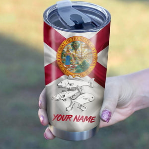 1PC Pompano, Redfish,Trout fishing Florida State Flag Customize name Stainless Steel Tumbler Cup Personalized Fishing gift fishing team - NQS875