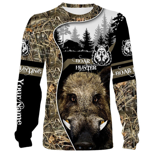 Wild Boar Hunting Camo Customize Name 3D All Over Printed Shirts Personalized Hunting gift For Adult And Kid NQS635