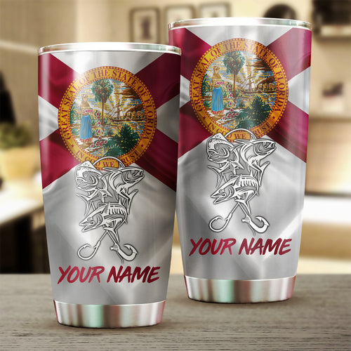 1PC Offshore Slam Mahi Mahi, Wahoo, Tuna fishing Florida State Flag Customize name Stainless Steel Tumbler Cup Personalized Fishing gift fishing team - NQS880