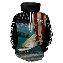 Load image into Gallery viewer, Sturgeon Fishing 3D American Flag Patriotic Customize name All over print shirts - personalized fishing gift for Adult and Kid - NQS517