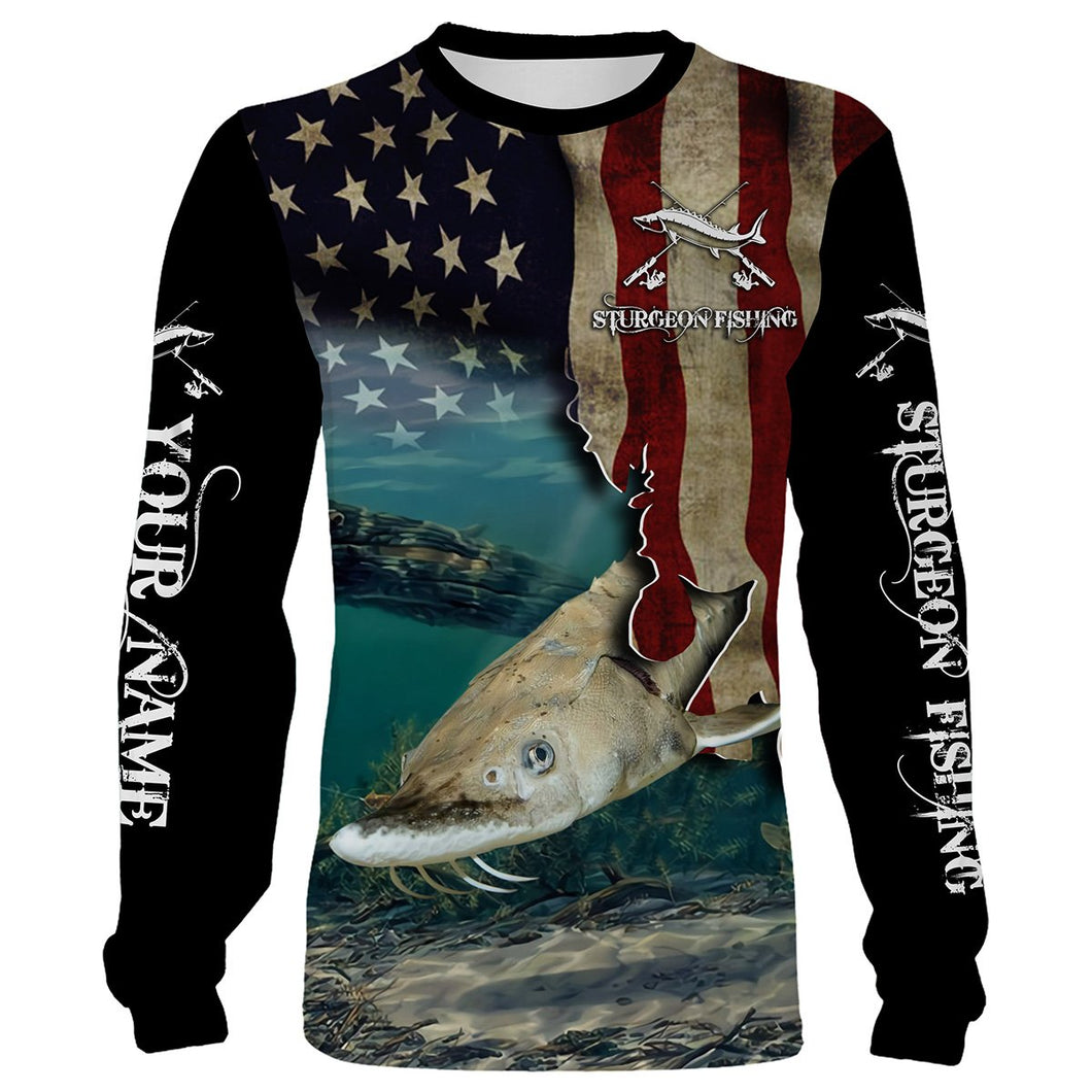 Sturgeon Fishing 3D American Flag Patriotic Customize name All over print shirts - personalized fishing gift for Adult and Kid - NQS517