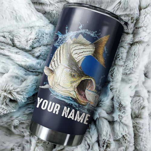 Beautiful Striped Bass Fishing Customize name Tumbler Cup Personalized Fishing gift for fisherman - NQS328