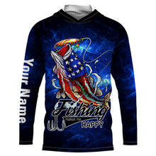 Load image into Gallery viewer, American Largemouth Bass Fishing Makes me happy UV protection quick dry Customize name long sleeves UPF 30+ personalized gift - NQS782