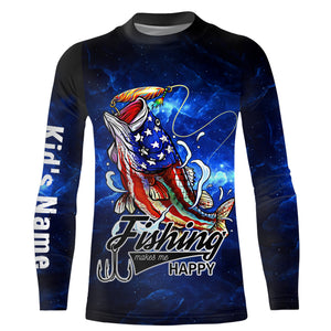 American Largemouth Bass Fishing Makes me happy UV protection quick dry Customize name long sleeves UPF 30+ personalized gift - NQS782