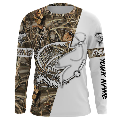 Striped bass Tattoo Fishing performance fishing shirt UV protection quick dry customize name long sleeves UPF 30+ NQS655