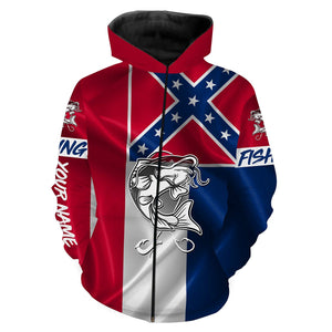 Catfish Tattoo fishing Mississippi Flag 3D All Over print shirts personalized fishing apparel for Adult and kid NQS536