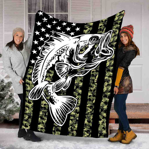 Bass American Flag Black Tattoo Solf Throw Fleece Fishing Blanket NQS344