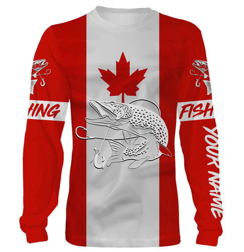 Northern Pike Fishing 3D Canadian Flag Customize name All over print shirts - personalized fishing gift for men and women and Kid - NQS471