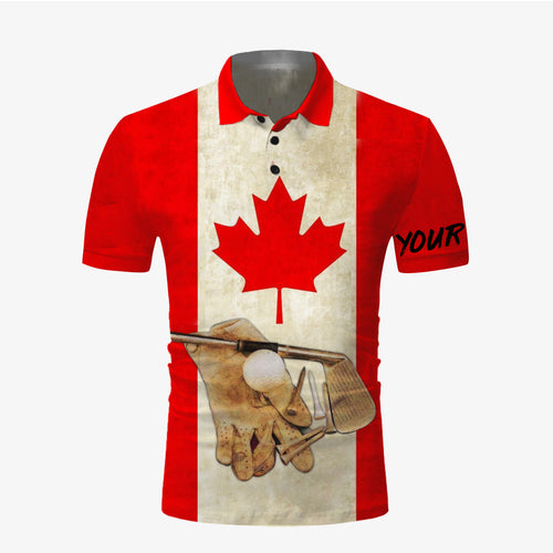 Golf Canadian flag vintage all over print Polo shirt NQS680