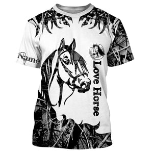 Love Horse Tattoo Customize Name 3D All Over Printed Shirts Personalized gift For Horse Lovers NQS709