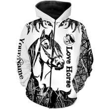 Load image into Gallery viewer, Love Horse Tattoo Customize Name 3D All Over Printed Shirts Personalized gift For Horse Lovers NQS709