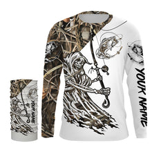 Load image into Gallery viewer, Fish Reaper Bass camo UV protection quick dry Customize name long sleeves UPF 30+ personalized gift for fisherman- NQS841