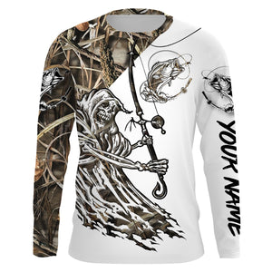 Fish Reaper Bass camo UV protection quick dry Customize name long sleeves UPF 30+ personalized gift for fisherman- NQS841