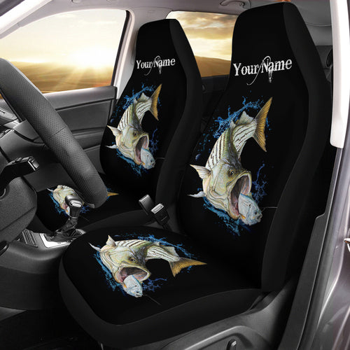 Striped Bass ( Striper) Fishing Custom 3D Printed Seat Cover, perfect car accessories Set of 2- personalized fishing gift for fishing lovers - NQS596