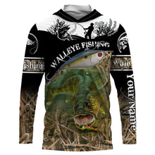 Load image into Gallery viewer, Walleye fish fishing shirts for men Performance Long Sleeve Fishing Shirt UV protection quick dry Customize name UPF 30+ - personalized fishing shirt for men and women and Kid - NQS998
