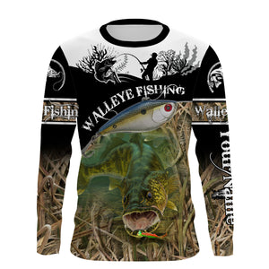 Walleye fish fishing shirts for men Performance Long Sleeve Fishing Shirt UV protection quick dry Customize name UPF 30+ - personalized fishing shirt for men and women and Kid - NQS998