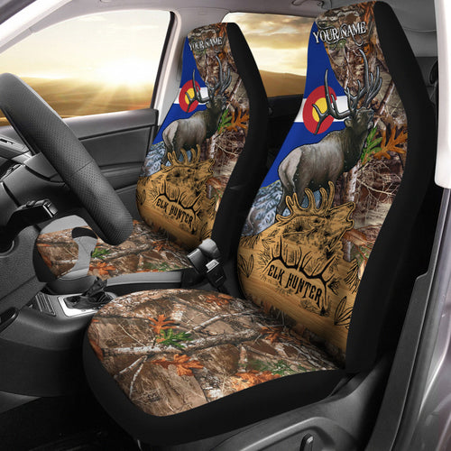Colorado CO Elk Hunting Custom 3D Printed Seat Covers , perfect car accessories - personalized hunting gift for hunting lovers Set of 2 - NQS621