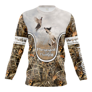 Wild pheasant hunting dogs English setter camouflage clothes Customize Name 3D All Over Printed Shirts NQS1025