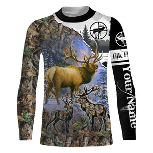 Elk Hunting camo hunting clothes Customize Name 3D All Over Printed Shirts Personalized Hunting gift For men, women And Kid NQS883