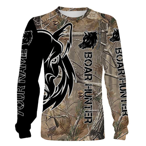 Wild boar hunting camouflage clothes Customize Name 3D All Over Printed Shirts plus size Personalized Hunting gift For men, women and kid NQS1029