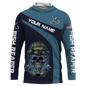 Fish Reaper Fish On American Fisherman UV protection quick dry Customize name long sleeves UPF 30+ personalized gift - NQS739