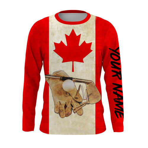 Golf Club Canadian Flag UV protection quick dry customize name long sleeves, Long sleeve hooded UPF 30+ personalized gift for Golf lovers - NQS651