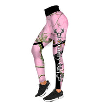Load image into Gallery viewer, Country girl pink muddy camo deer hunting customize name leggings personalized hunting gift for women, hunting legging for girl - NQS935