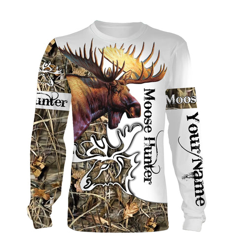 Moose Hunting Camo  Huntaholic Customize name 3D All over print shirts - personalized apparel gift for hunting lovers - NQS667
