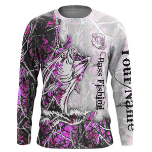 Bass fishing Pink muddy Camo UV protection quick dry Customize name long sleeves UPF 30+ personalized gift for Adult and kid- NQS801